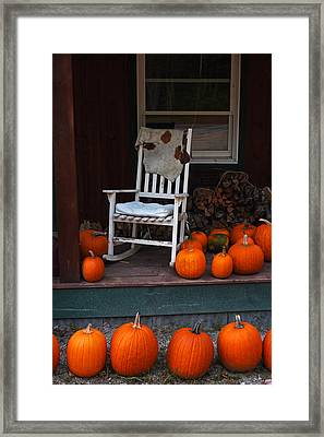 Pumpkin Patch Little Field Farm New Hampshire Rocking Chair Framed Print by Toby McGuire