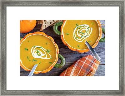 Pumpkin Soup In Pumpkin Bowls Framed Print by Teri Virbickis