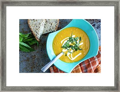 Pumpkin Squash Soup In Blue Framed Print by Teri Virbickis