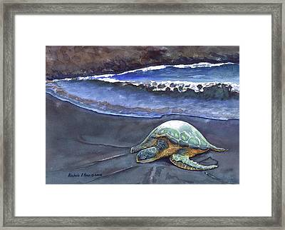 Punaluu Honu Beach Nap Framed Print by Michele Ross