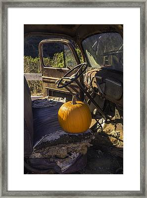 Punpkin On Old Truck Seat Framed Print by Garry Gay