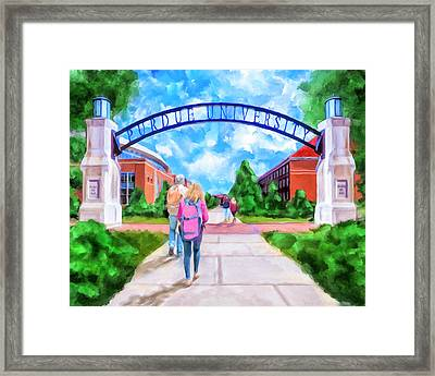 Purdue University - Gateway To The Future Arch Framed Print by Mark Tisdale