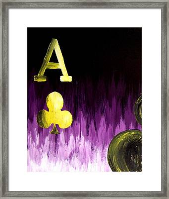 Purple Aces Poker Art1of4 Framed Print by Teo Alfonso