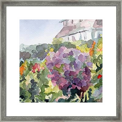 Purple Blossoms Monets Garden Watercolor Paintings Of France Framed Print by Beverly Brown