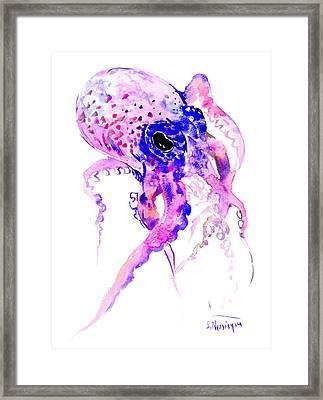 Purple Blue Octopus Framed Print by Suren Nersisyan