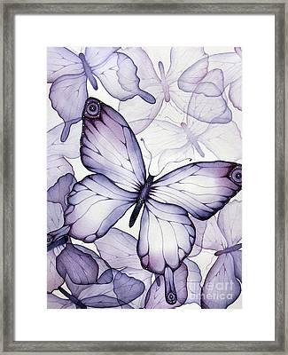 Purple Butterflies Framed Print by Christina Meeusen