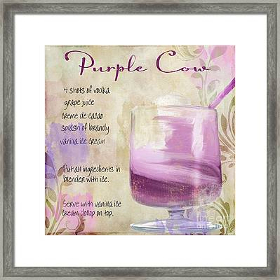 Purple Cow Mixed Cocktail Recipe Sign Framed Print by Mindy Sommers