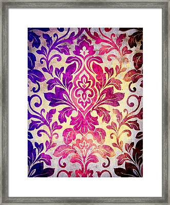 Purple Damasc Pattern Framed Print by Aloke Design