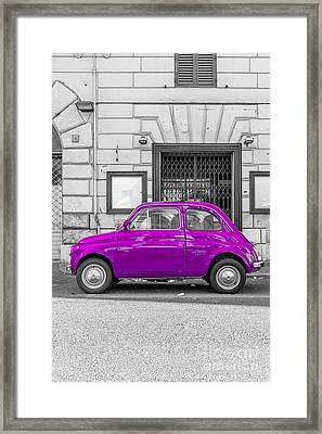 Purple Fiat 500 Rome Italy Framed Print by Edward Fielding