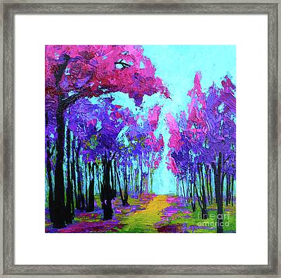Purple Magenta, Forest, Modern Impressionist, Palette Knife Painting Framed Print by Patricia Awapara
