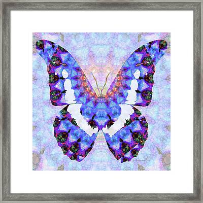 Purple Mandala Butterfly Art By Sharon Cummings Framed Print by Sharon Cummings