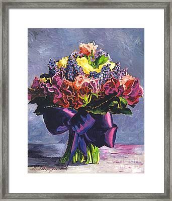 Purple Sash Bouquet Framed Print by David Lloyd Glover