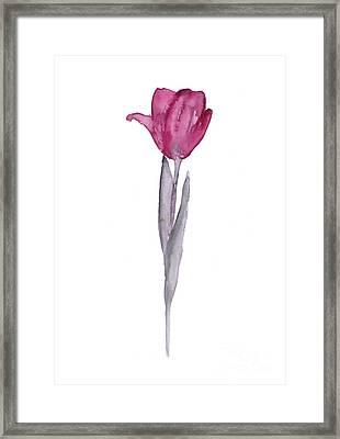 Purple Tulip Botanical Artwork Poster Framed Print by Joanna Szmerdt