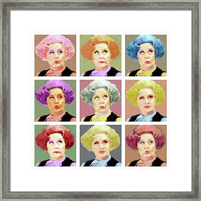 Pussy Galore - Nine Lives - Mollie Sugden Portrait, Are You Being Served? Framed Print by Big Fat Arts