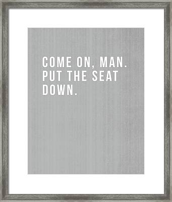 Put The Seat Down- Art By Linda Woods Framed Print by Linda Woods