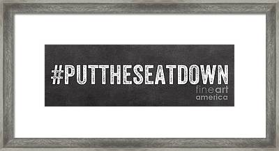 Put The Seat Down Framed Print by Linda Woods
