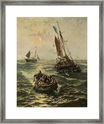 Putting The Catch Ashore Framed Print by Thomas Rose Miles