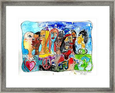 Puzzle People Framed Print by Genevieve Esson