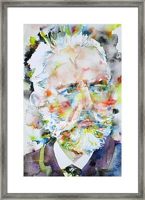 Pyotr Ilyich Tchaikovsky - Watercolor Portrait Framed Print by Fabrizio Cassetta