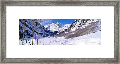Pyramid Peak And Maroon Bells Framed Print by Panoramic Images