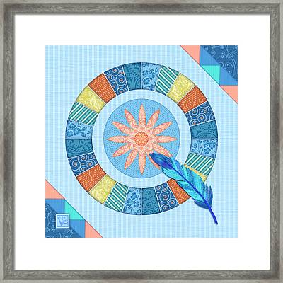 Q Is For Quilt And Quill Framed Print by Valerie Drake Lesiak