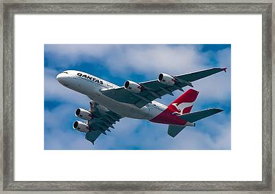 Qantas A380 Framed Print by Mark Lucey