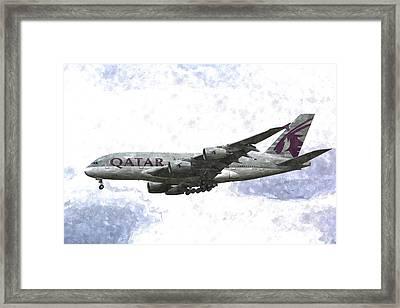 Qatar Airlines Airbus A380 Art Framed Print by David Pyatt
