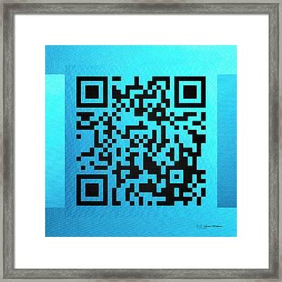 Qr Codes - Code Blue Framed Print by Serge Averbukh