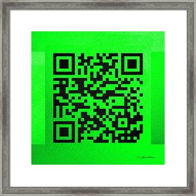 Qr Codes - Code Green Framed Print by Serge Averbukh