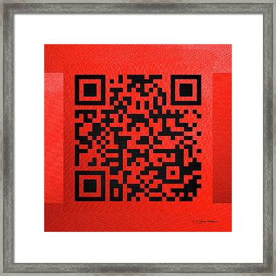 Qr Codes - Code Red Framed Print by Serge Averbukh