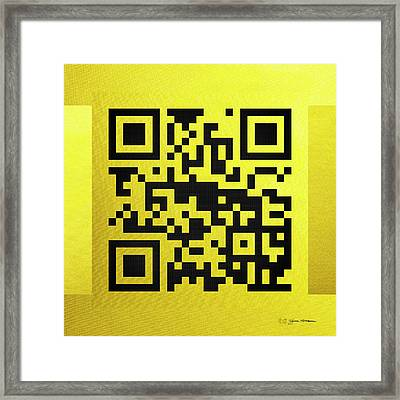 Qr Codes - Code Yellow Framed Print by Serge Averbukh