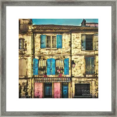 Quaint Row Houses With Colorful Shutters Framed Print by Amy Cicconi