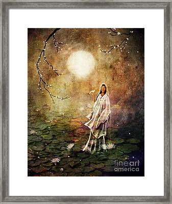 Quan Yin In A Lotus Pond Framed Print by Laura Iverson