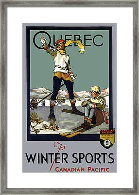 Quebec Canada For Winter Sports Vintage Travel  1930 Framed Print by Daniel Hagerman