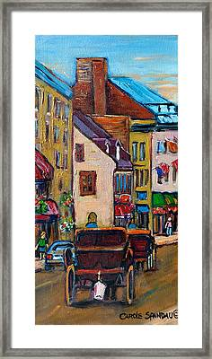 Quebec City Street Scene  Caleche Ride Framed Print by Carole Spandau