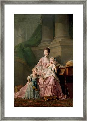 Queen Charlotte With Her Two Eldest Sons Framed Print by Allan Ramsay