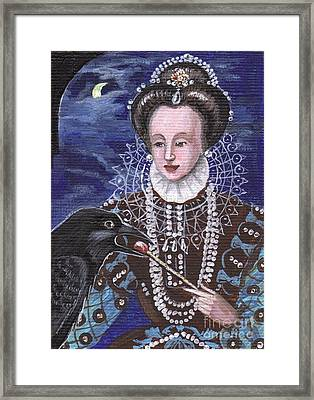 Queen Elizabeth Feeds The Raven Framed Print by Margaryta Yermolayeva