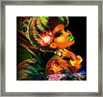 Queen Protea Framed Print by Kia Kelliebrew