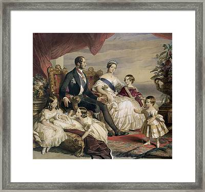 Queen Victoria And Prince Albert With Five Of The Their Children Framed Print by Franz Xavier