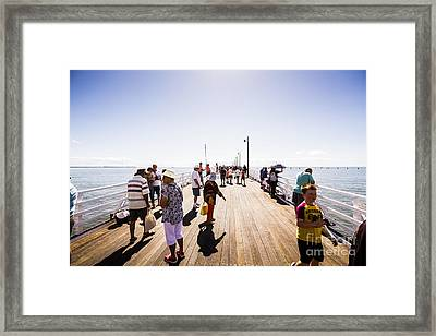 Queenslanders Walking On The New Shorncliffe Pier Framed Print by Jorgo Photography - Wall Art Gallery
