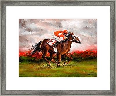 Quest For The Win - Horse Racing Art Framed Print by Lourry Legarde