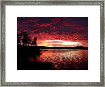 Quetico Sun Rise Framed Print by Peter  McIntosh