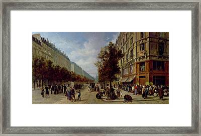 Queueing At The Door Of A Grocery Framed Print by Jacques Guiad