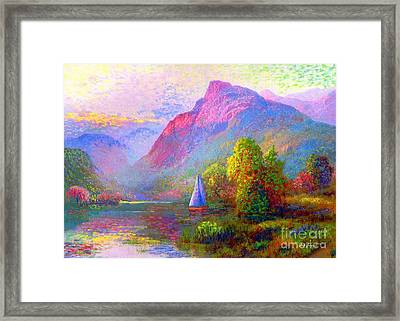 Sailing Into A Quiet Haven Framed Print by Jane Small