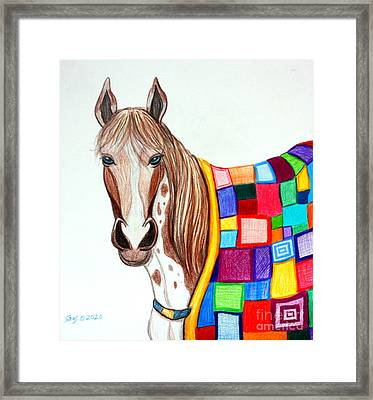 Quilted Stallion Framed Print by Nick Gustafson