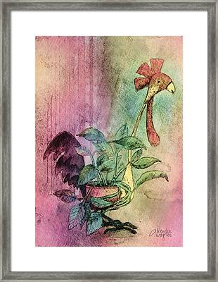 Quirky Rooster Planter Framed Print by Arline Wagner
