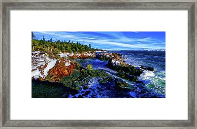 Quoddy Coast With Snow Framed Print by ABeautifulSky Photography