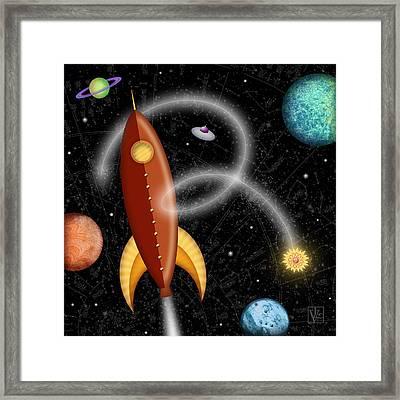 R Is For Rocket Framed Print by Valerie Drake Lesiak