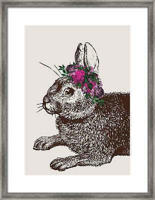 Rabbit And Roses Framed Print by Eclectic at HeART