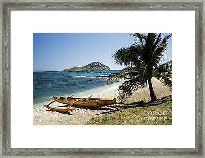 Rabbit Island And Koa Canoe Framed Print by Peter French - Printscapes